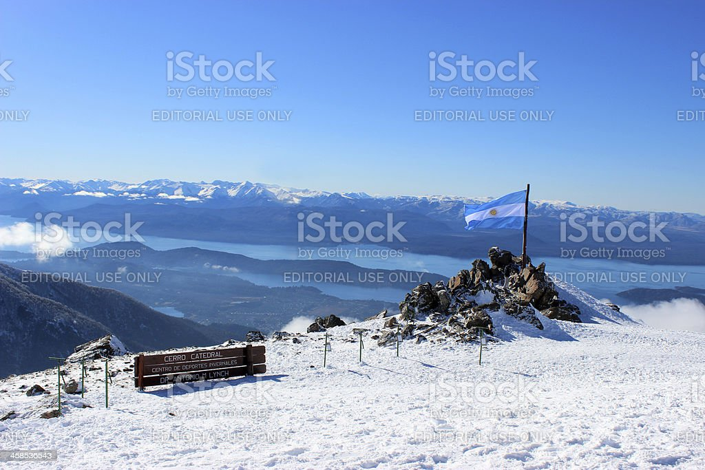 Argentina Flag and blue skies at Andes mountains - Patagonia stock photo