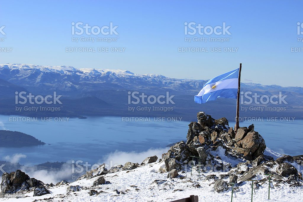 Argentina Flag and Gutierrez lake at Andes - Patagonia stock photo