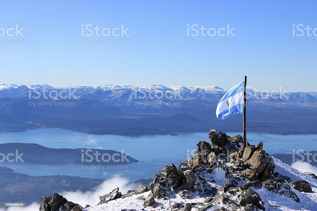 Argentina Flag and Gutierrez lake at background - Andes Patagonia stock photo
