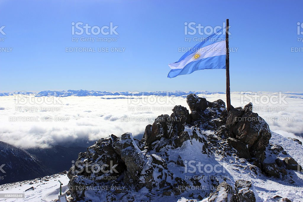 Argentina Flag at Andes mountains - Patagonia stock photo