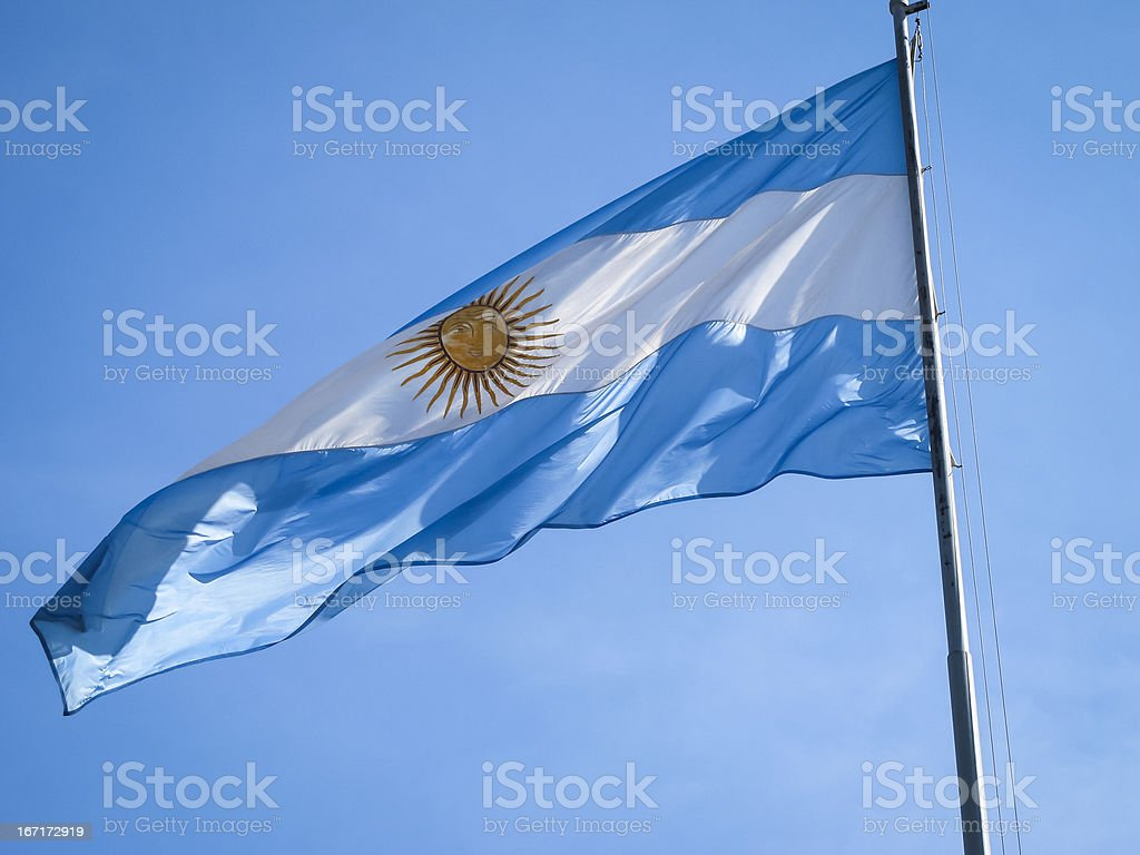 Argentina flag on a pole royalty-free stock photo