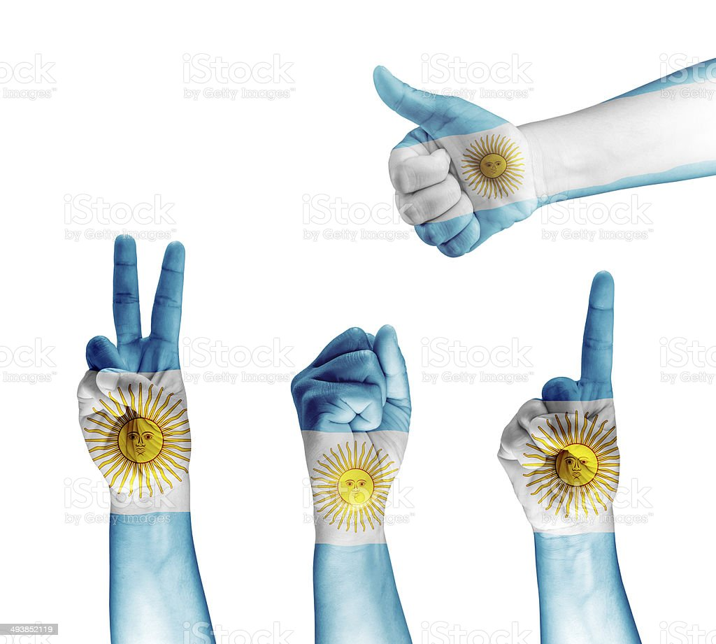 Argentina flag painted on hand stock photo