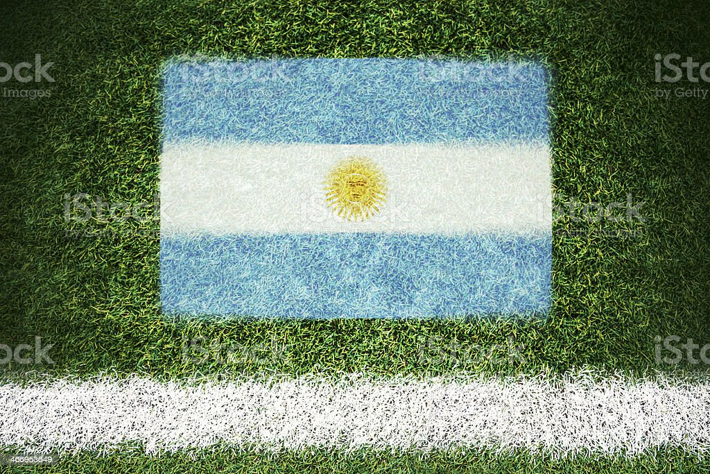 Argentina flag printed on a soccer field royalty-free stock photo