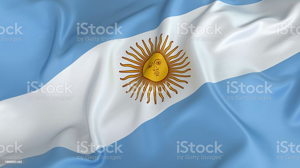 Argentina flag with sun on white stripe in on a blue field stock photo