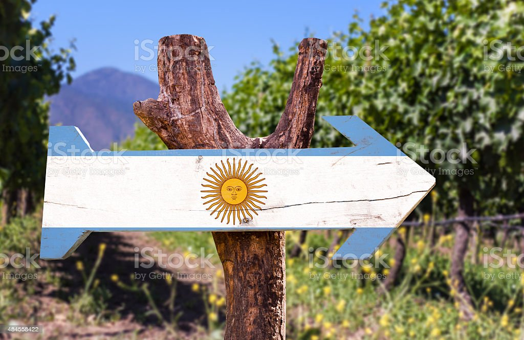 Argentina Flag wooden sign with winery background stock photo