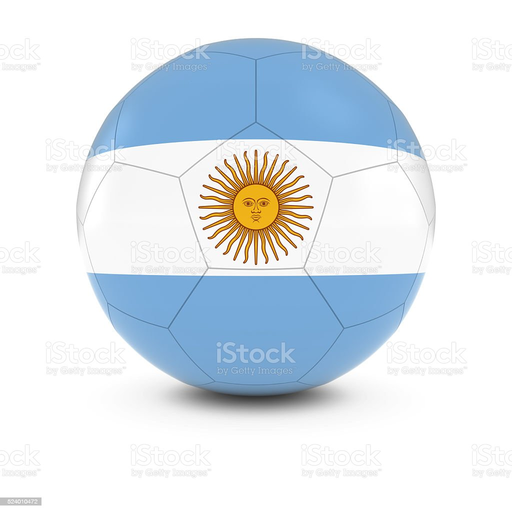 Argentina Football - Argentinan Flag on Soccer Ball stock photo