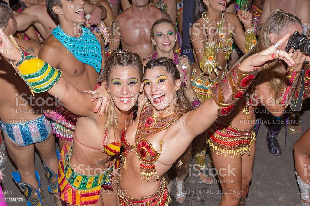 Argentina Gualeguaychu samba dancer dancing at carnival stock photo