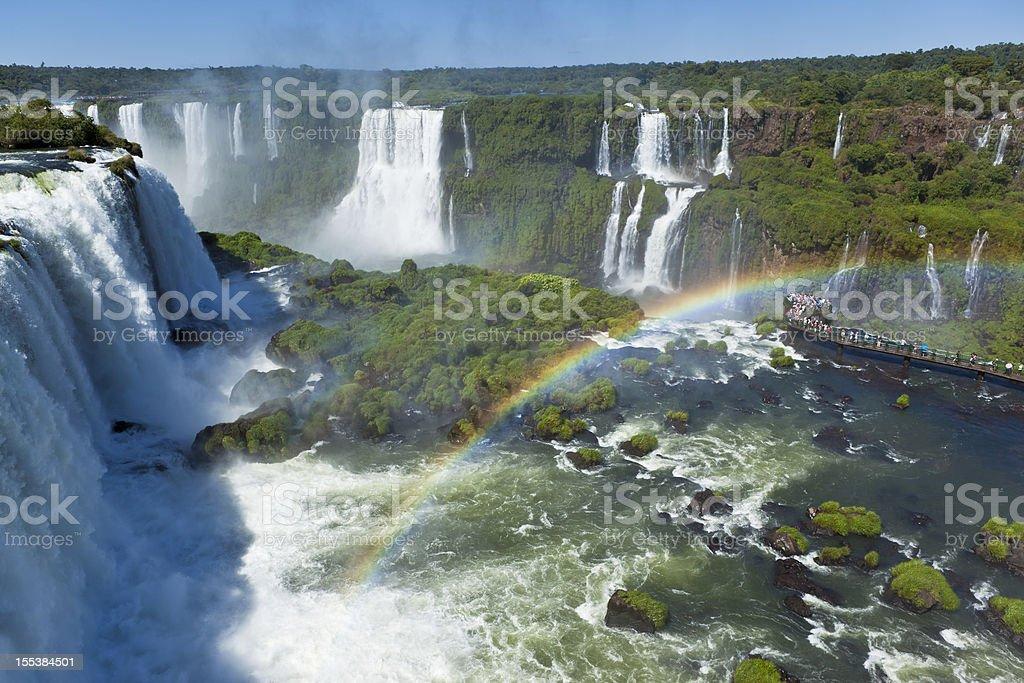 Argentina Iguazu Waterfalls Garganta del Diablo with rainbow stock photo