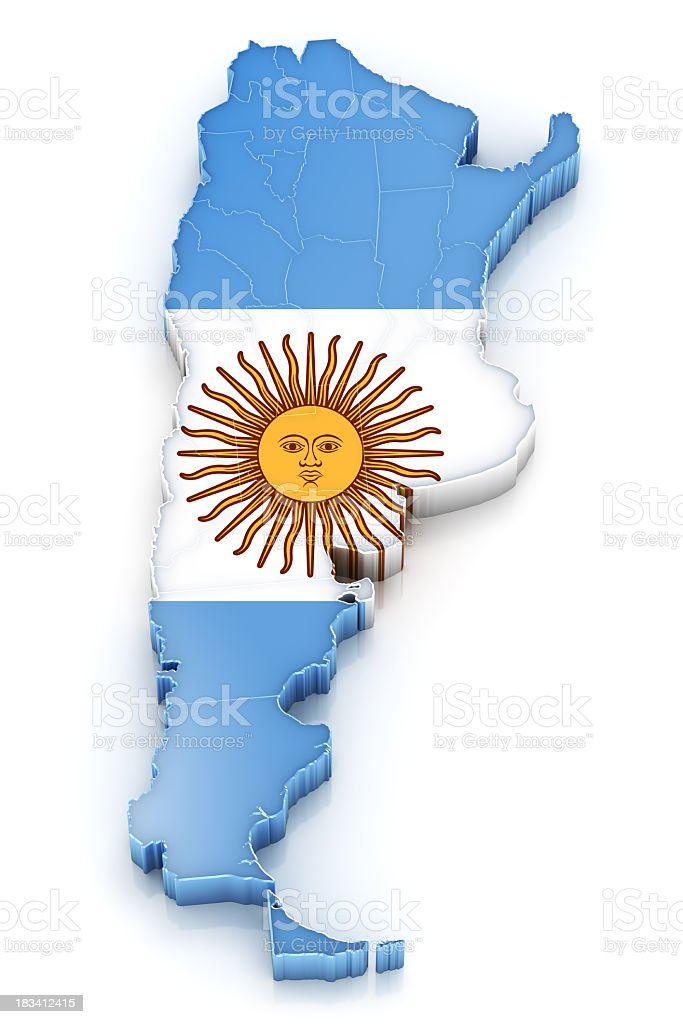Argentina Map with Flag royalty-free stock photo