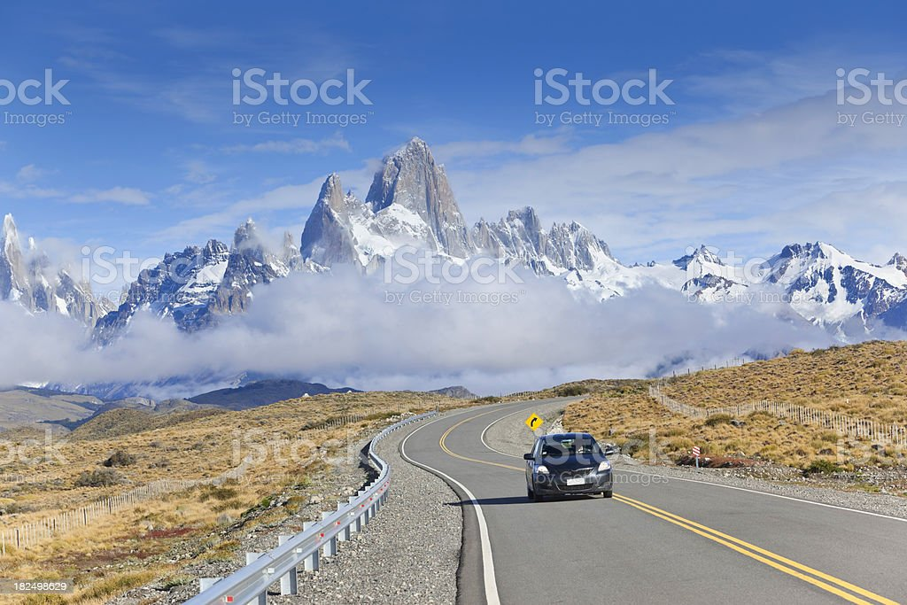 Argentina Patagonia black car and Mount Fitz Roy stock photo