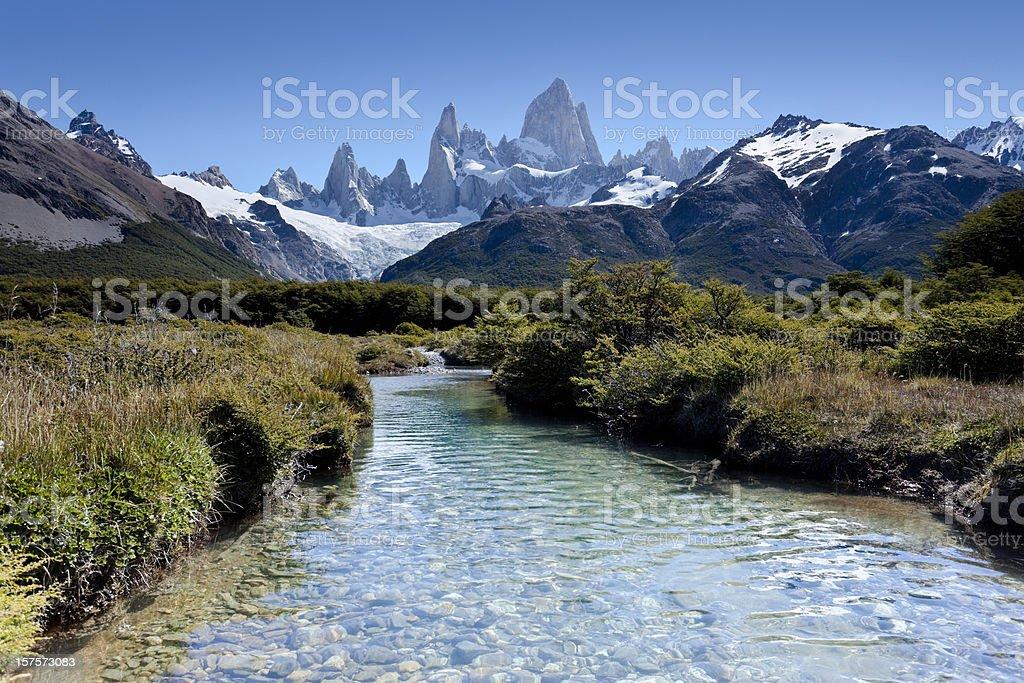 Argentina Patagonia blue sky over Mount Fitz Roy stock photo