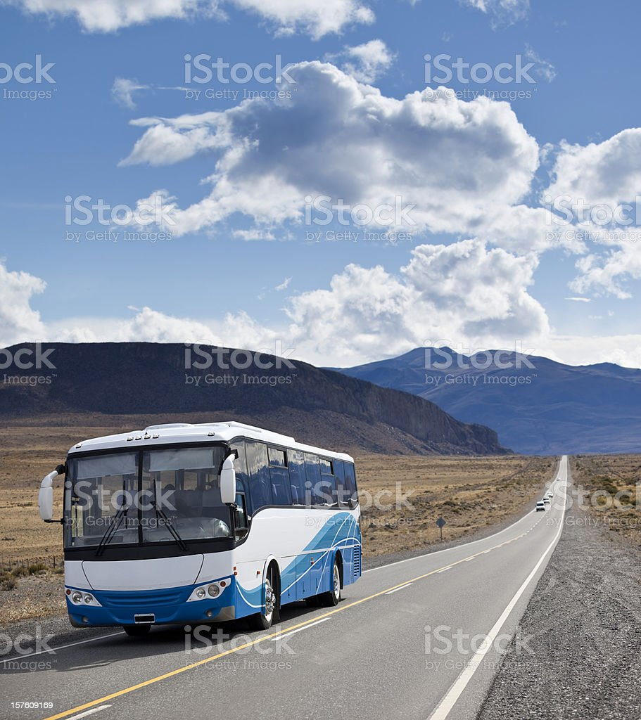 Argentina Patagonia bus driving on highway stock photo