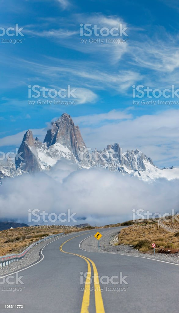 Argentina Patagonia highway to Mount Fitz Roy royalty-free stock photo