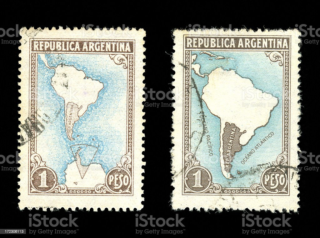 Argentina Postage Stamps royalty-free stock photo