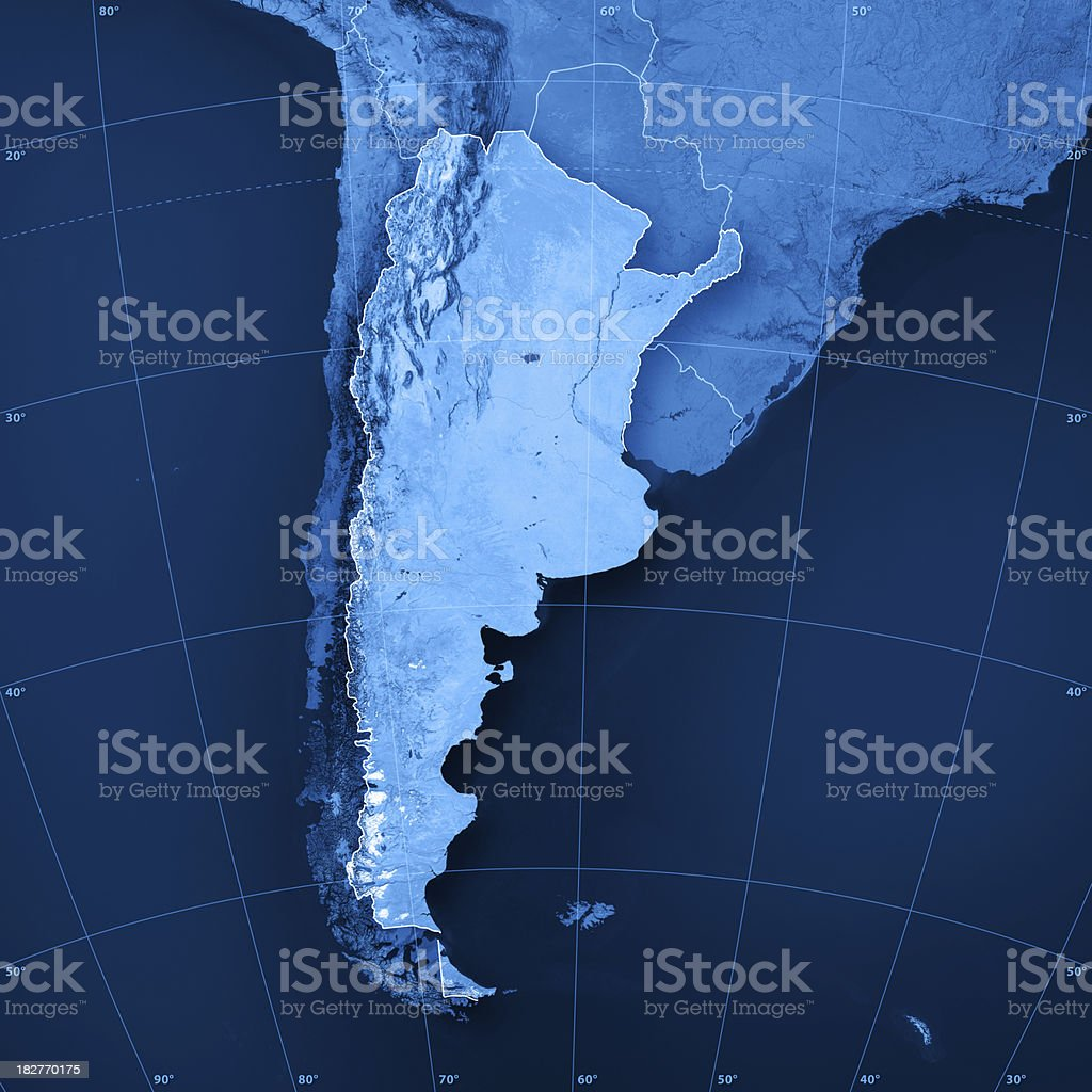 Argentina Topographic Map royalty-free stock photo