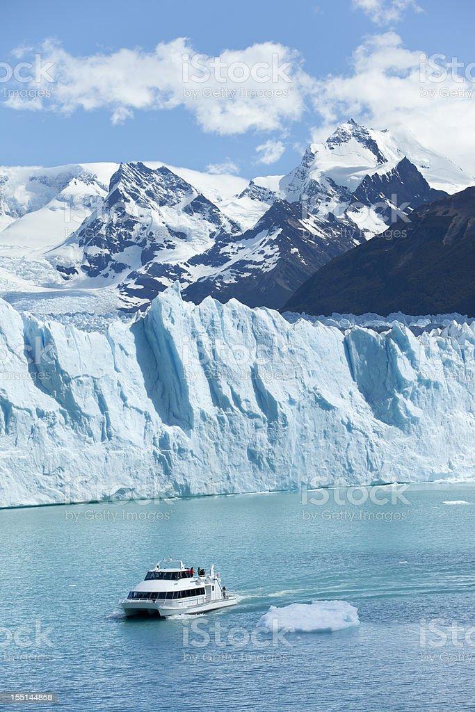 Argentina tourist boat at Glacier Perito Moreno Patagonia stock photo