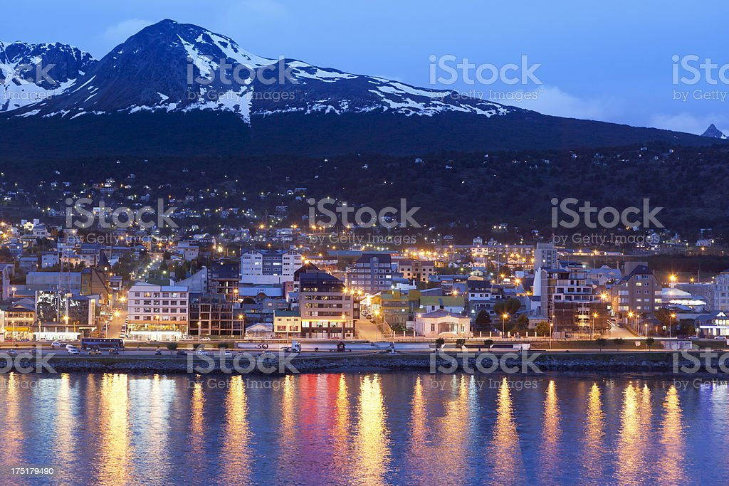 Argentina Ushuaia bay at Beagle Channel by night stock photo