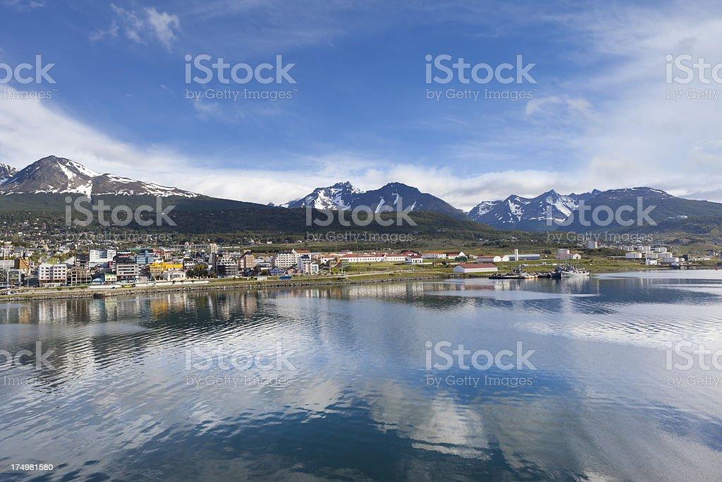 Argentina Ushuaia bay at Beagle Channel stock photo