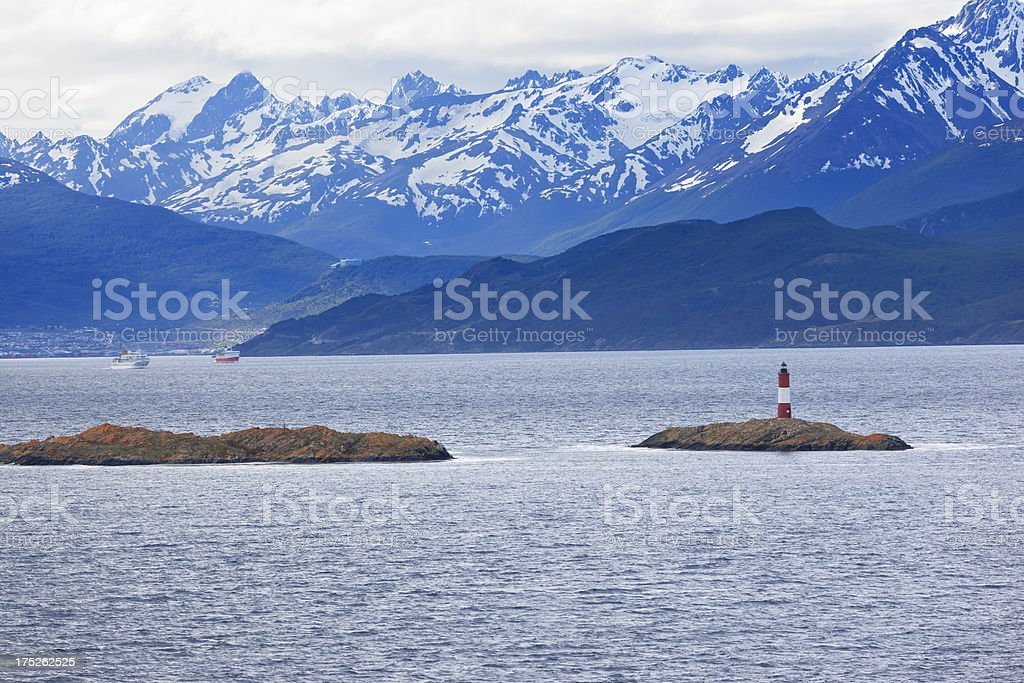 Argentina Ushuaia bay at Beagle Channel with Les Eclaireurs Lighthouse royalty-free stock photo