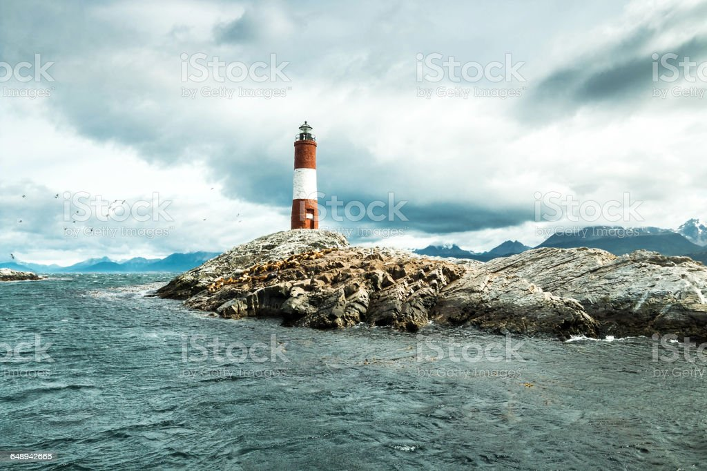 Argentina Ushuaia bay at Beagle Channel with Les Eclaireurs Lighthouse stock photo