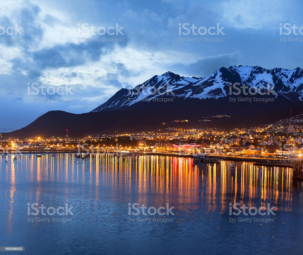 Argentina Ushuaia bay with Beagle Channel at night stock photo