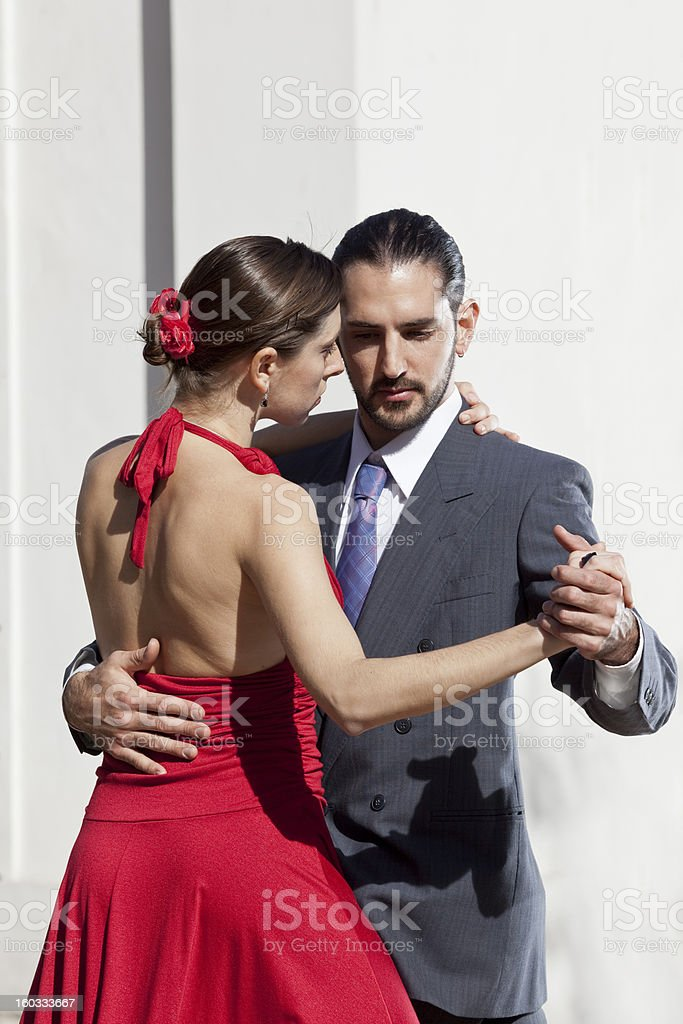 Argentine couple dancing tango in Buenos Aires stock photo