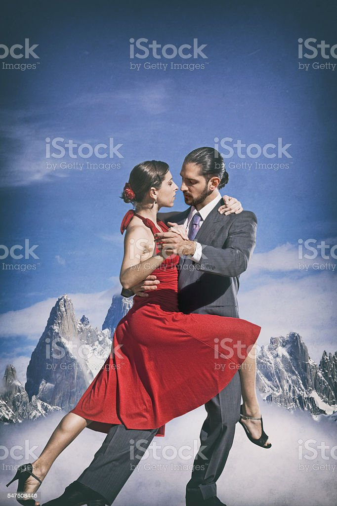Argentine couple dancing tango in Patagonia stock photo