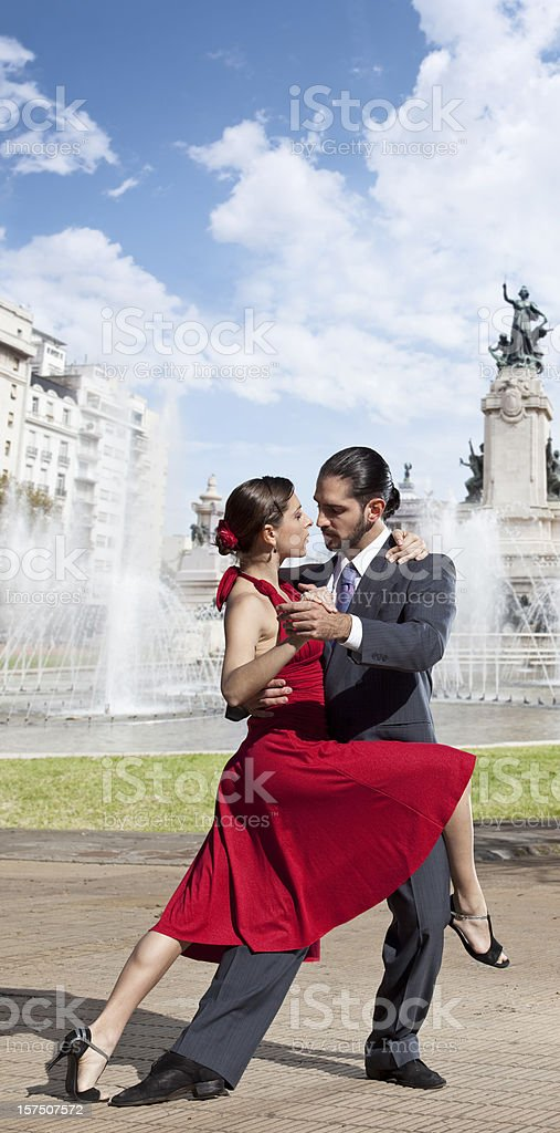 Argentine couple dancing Tango in the streets of Buenos Aires stock photo