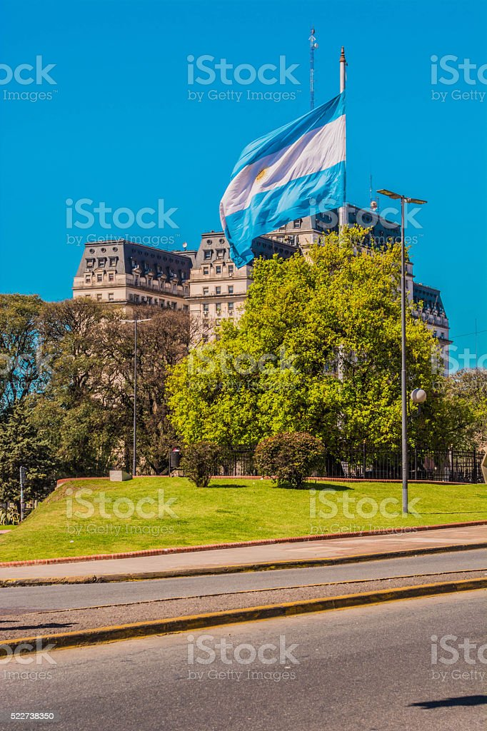 Argentine Flag in Buenos Aires stock photo