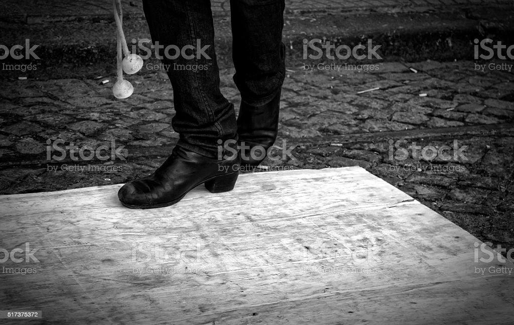 Argentine Gaucho Dancer Boots and Boleadoras stock photo