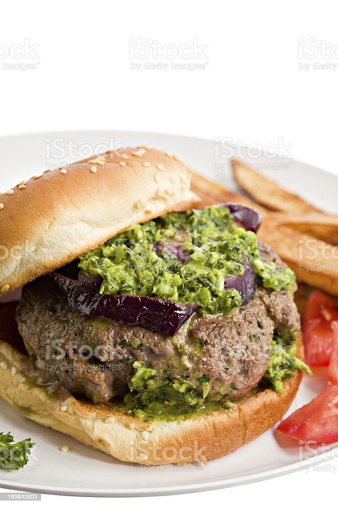 Argentine Hamburger With Chimichurri Sauce stock photo