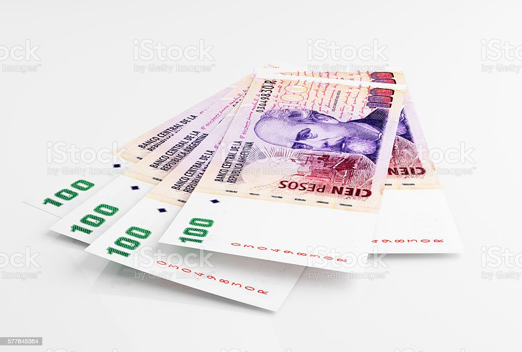 Argentine peso banknotes stock photo