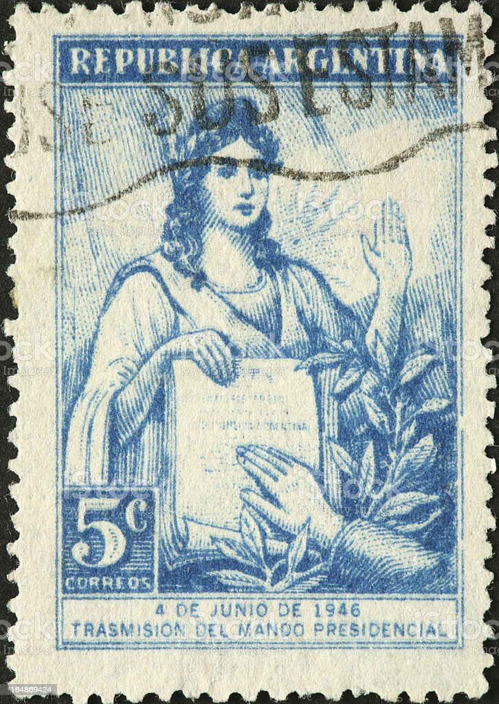 Argentine presidential oath of office on a postage stamp royalty-free stock photo