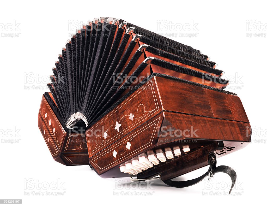 Argentine tango - bandoneon and a hat stock photo