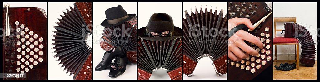 Argentine tango music, collage stock photo
