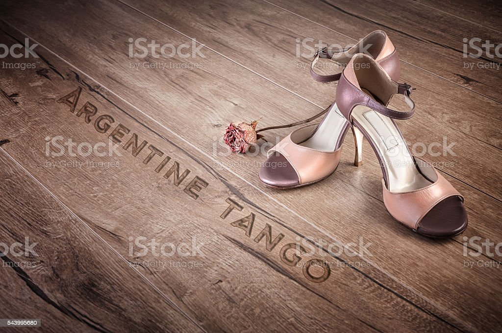 Argentine tango shoes and a dry rose on wood, text stock photo