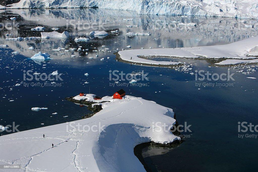 Argentinian Antarctic base at Paradise Bay, Antarctica stock photo