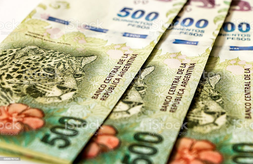 Argentinian banknotes stock photo