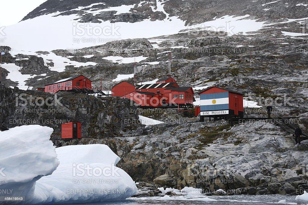 Argentinian Base Primavera at the Entrance of Cierva Cove Argentina stock photo