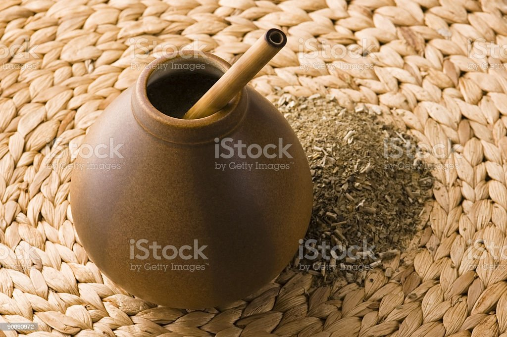 argentinian calabash with yerba mate royalty-free stock photo