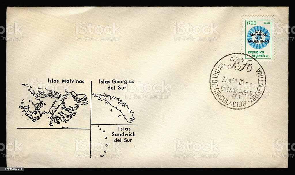 Argentinian Falkland Islands first day cover stock photo
