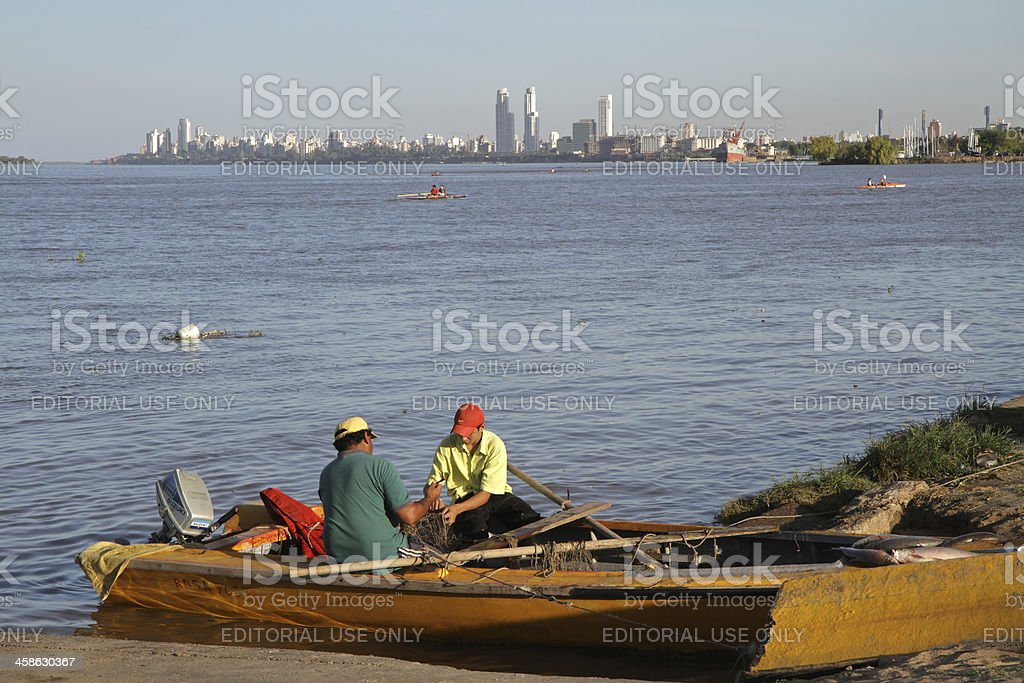Argentinian fisherman on Parana river stock photo