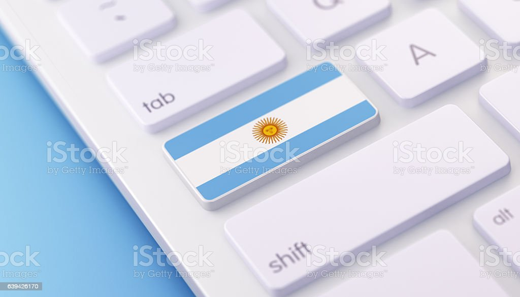 Argentinian Flag Keyboard button with Selective Focus stock photo