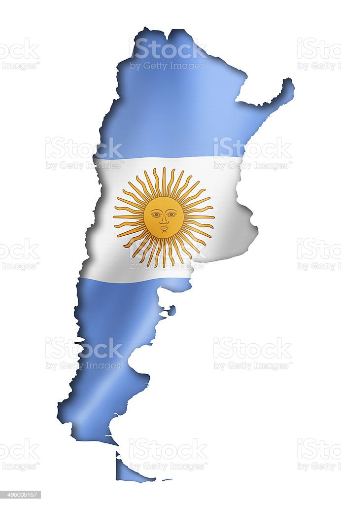 Argentinian flag map stock photo