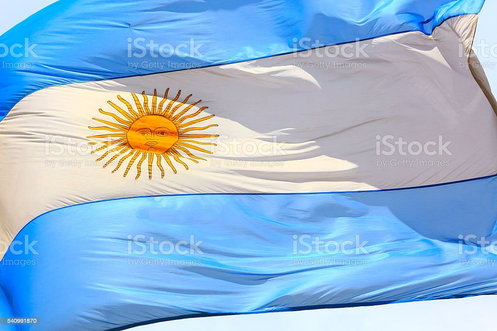 Argentinian flag waving against the sky, Buenos Aires, Argentina stock photo