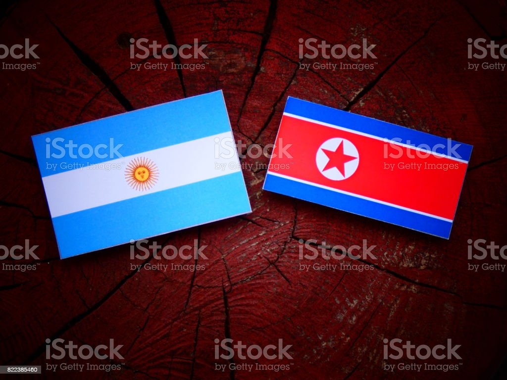 Argentinian flag with North Korean flag on a tree stump isolated stock photo