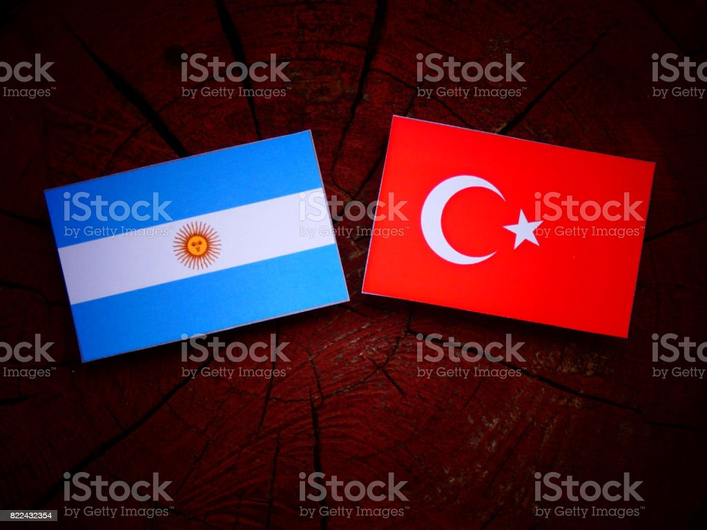 Argentinian flag with Turkish flag on a tree stump isolated stock photo