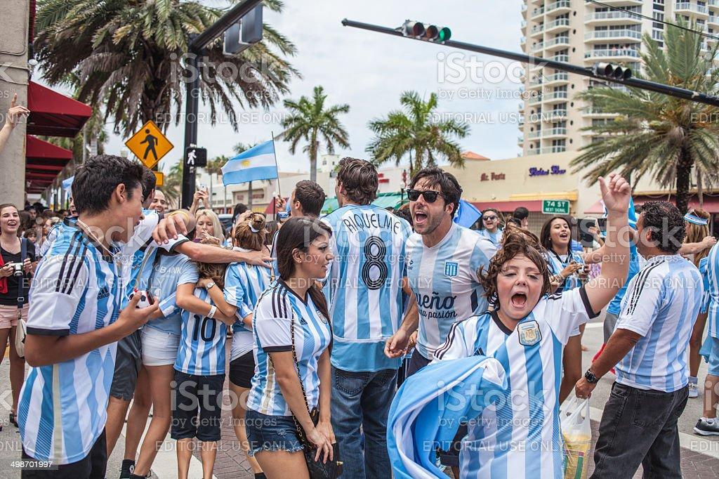 Argentinian soccer fans celebrating - Stock Image stock photo