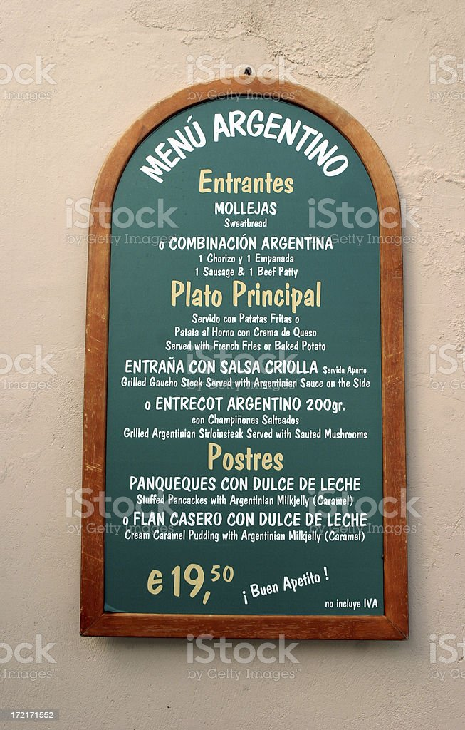 Argentinian Spanish Restaurant Cafe Menu royalty-free stock photo