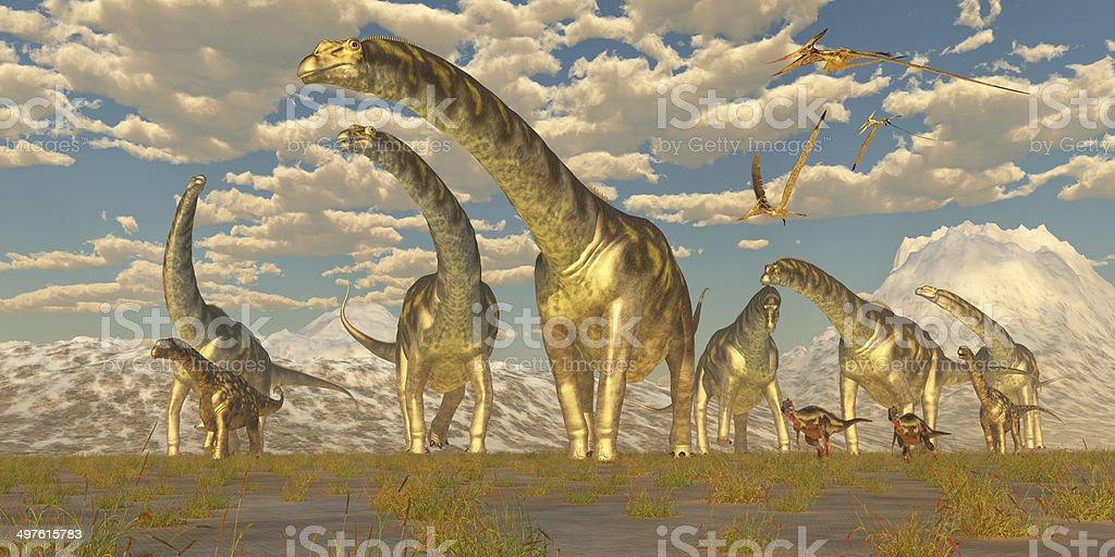 Argentinosaurus Herd Migration stock photo